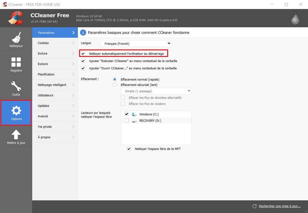 Configurez CCleaner de manière à commencer une session sur votre PC de manière optimale. © Piriform