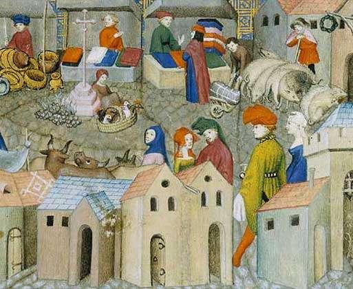 Enluminure représentant une scène de foire au Moyen Âge. © BNF