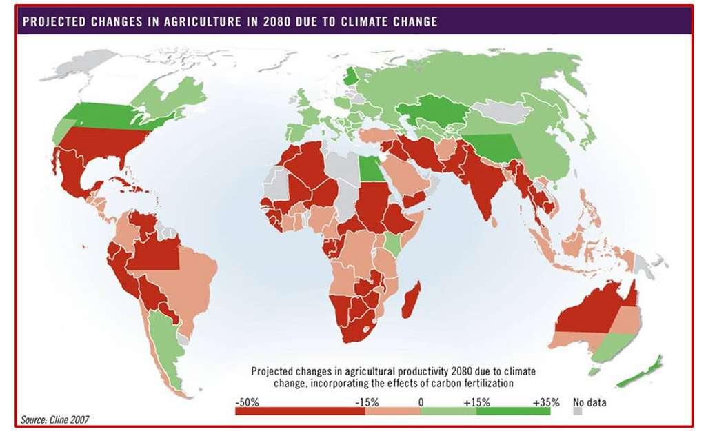 Évolution probable de la productivité agricole dans le monde d'ici à 2080 avec le réchauffement climatique. © Cline 2007