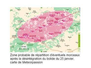 La zone au-dessus de laquelle le bolide s'est désintégré. Cliquez sur l'image pour l'agrandir. © MeteorPassion