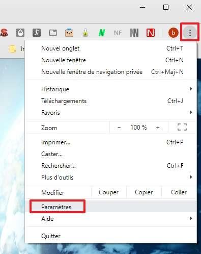 Rendez-vous dans les paramètres de Chrome. © Google Inc.