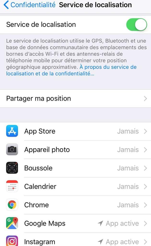 Application par application, sélectionnez celles que vous autorisez à utiliser la puce GPS. Par défaut, beaucoup l'utilisent sans votre consentement. © Sylvain Biget