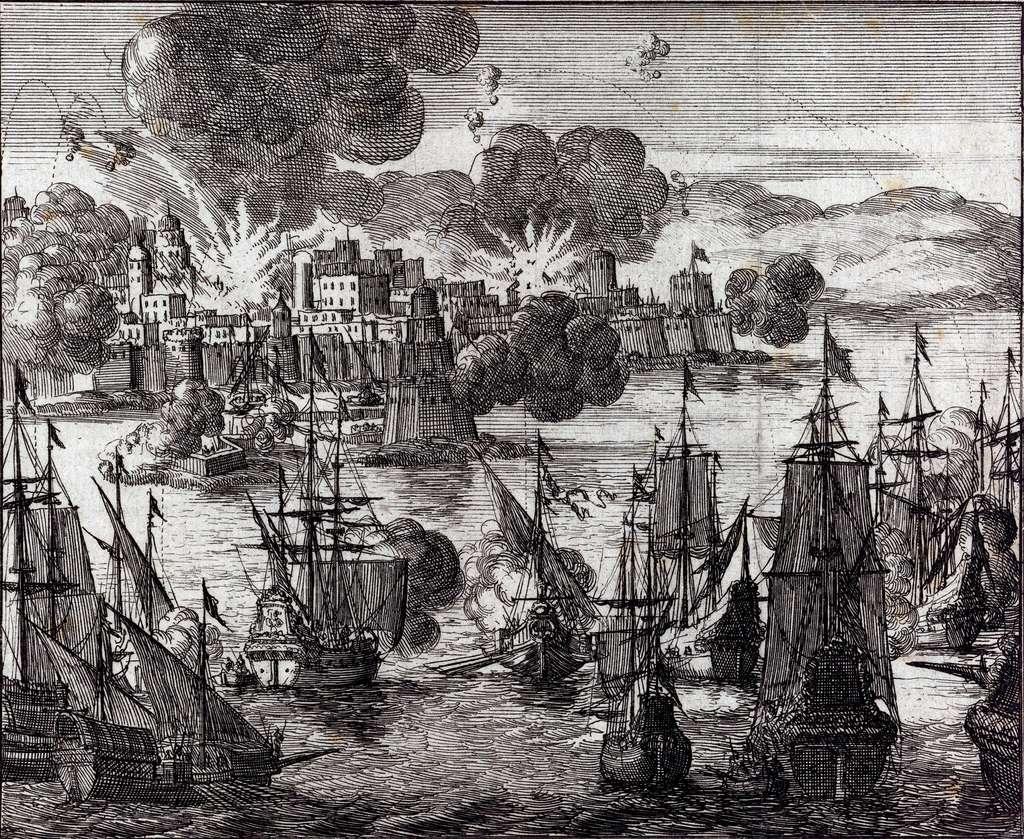 Bombardement d'Alger par la flotte française en 1682, par Jan Luyken en 1689. Musée d'Histoire d'Amsterdam. © Wikimedia Commons, domaine public.