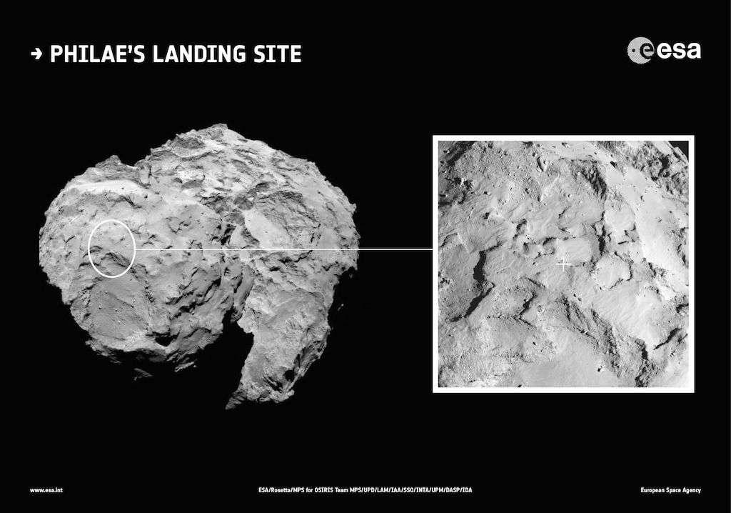 Situé au sommet du plus petit des deux lobes de la comète 67P/Churyumov-Gerasimenko, le site d'atterrissage de Philae a été baptisé Agilkia. © Esa, Rosetta, MPS, UPD, LAM, IAA, SSO, INTA, UPM, DASP, IDA