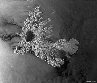 Les Kerguelen vues par le radar ASAR d'Envisat (crédit : ESA)