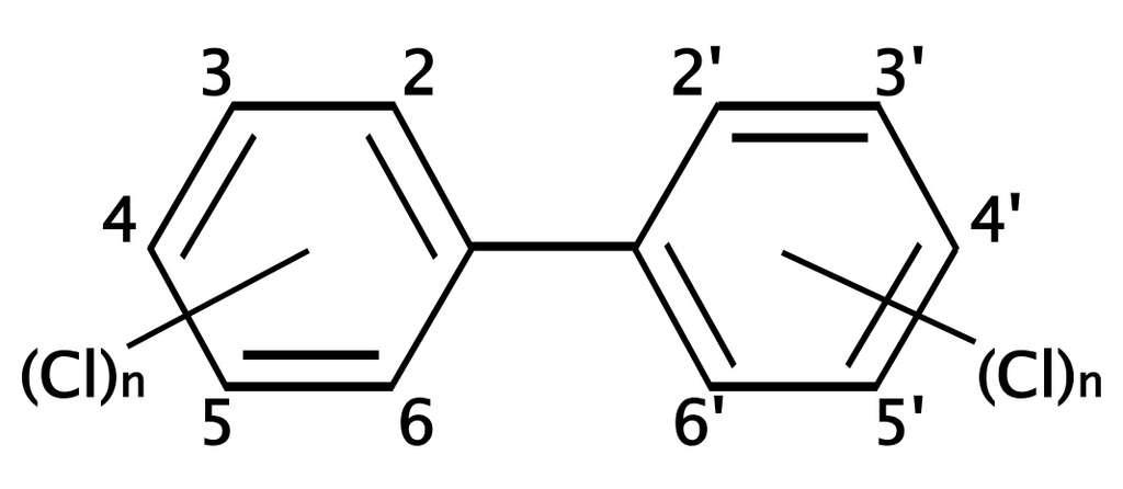 Les PCB sont un ensemble de molécules qui ont toutes la même structure de base : un biphényle chloré. © D.328, Wikimedia, GFDL 1.2