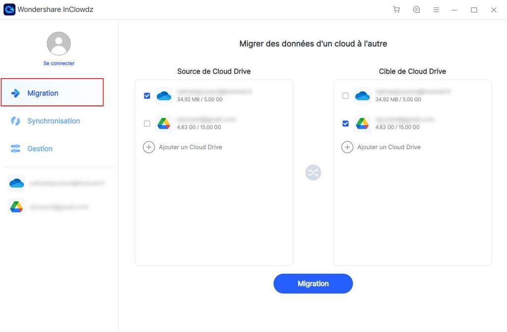 Migrer vos fichiers d'un espace Cloud à un autre Drive avec Wondershare InClowdz ©Wondershare