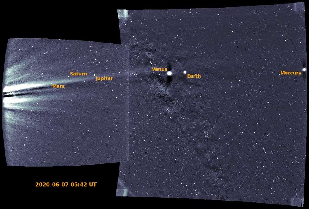 Ces deux images ont été obtenues par le Wide-field Imager de Parker Solar Probe (Wispr). Son objectif : capturer la couronne solaire et l'héliosphère intérieure ainsi que le vent solaire et d'autres structures. © NASA, Johns Hopkins APL, Naval Research Laboratory, Guillermo Stenborg and Brendan Gallagher