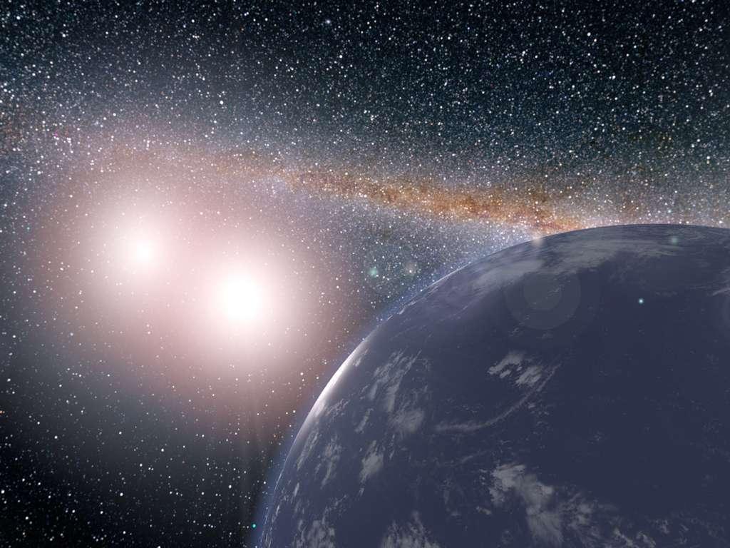 Voici à quoi pourrait ressembler une planète semblable à la Terre dans le système double Kepler 35. © Nasa, JPL-Caltech