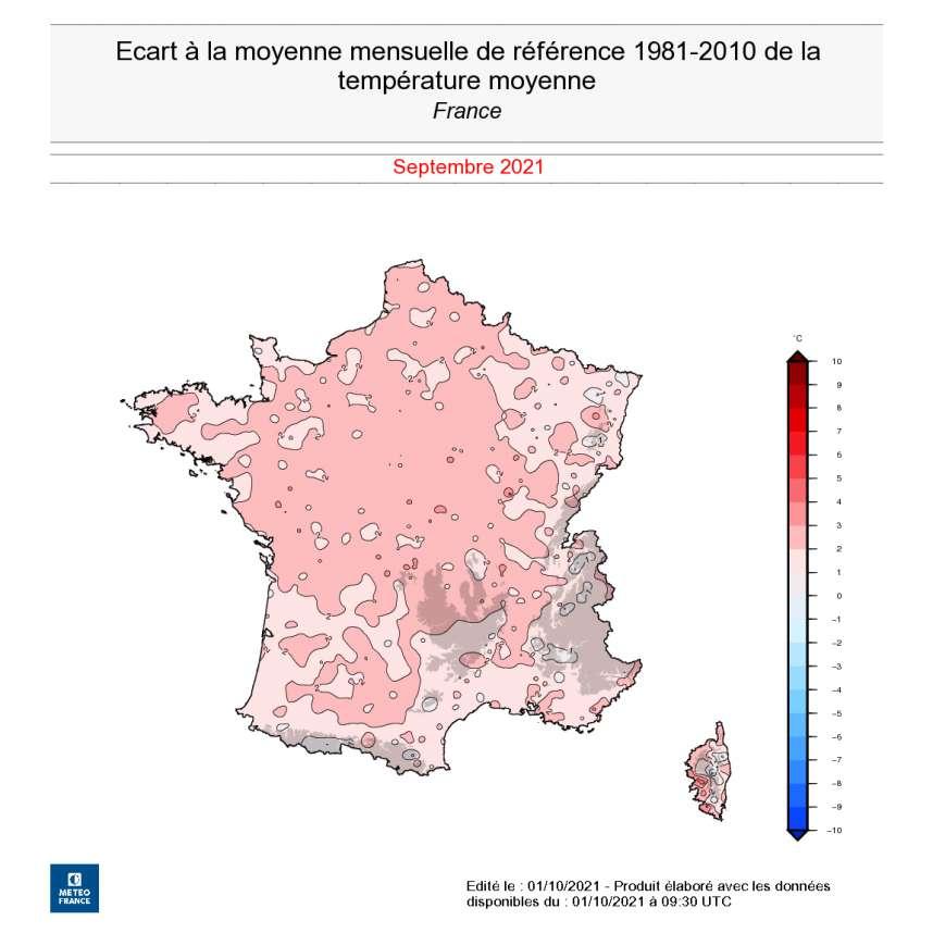 Sur cette carte, on découvre une température au-dessus des normales, assez uniformément répartie sur l'ensemble du pays pour ce mois de septembre 2021. © Météo France