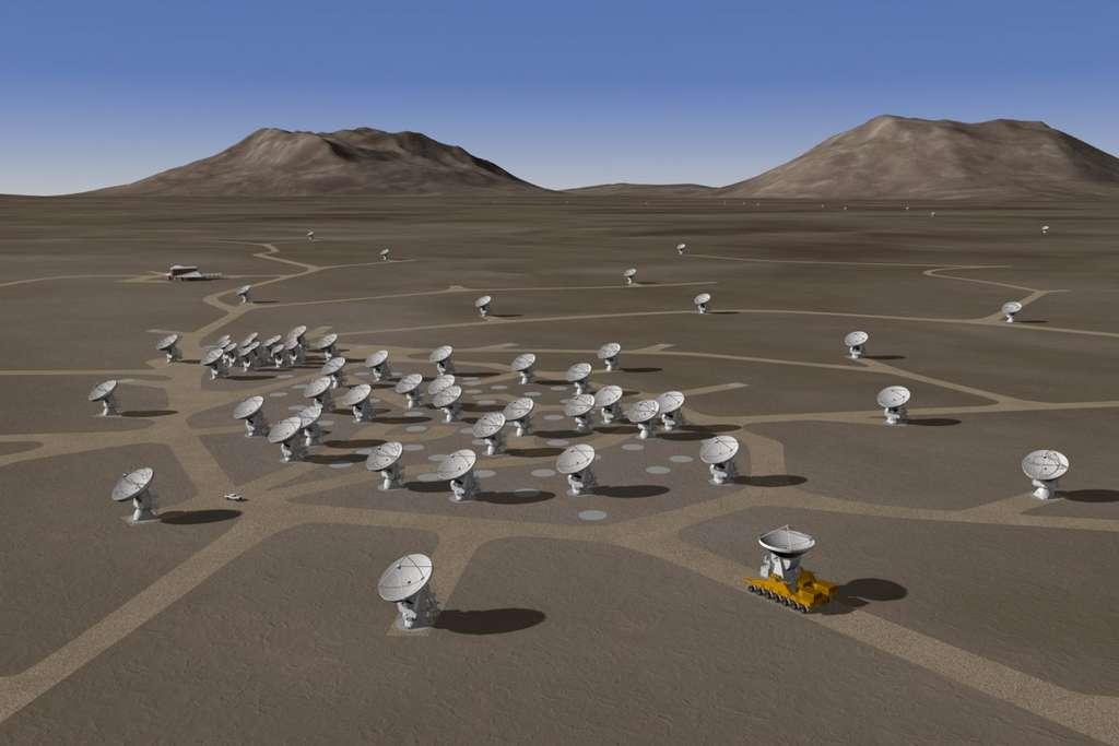 Lorsqu'il sera achevé, Alma sera constitué de 66 antennes : 54 antennes de 12 m fournies par l'Europe, (25 antennes et une option pour 7 supplémentaires), les États-Unis (idem) et le Japon (4) qui fournira également 12 antennes de 7 m. © Alma, ESO, NRAO, NAOJ