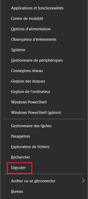 Cliquez sur « Exécuter » dans le menu des liens rapides. © Microsoft