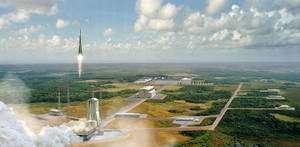 Grâce à son positionnement plus près de l'équateur, la Guyane permet aux Soyouz de placer 3 tonnes de charge utile en orbite géostationnaire, contre 1,7 tonne depuis Baïkonour, au Kazakhstan. © Cnes / Esa / D. Ducros