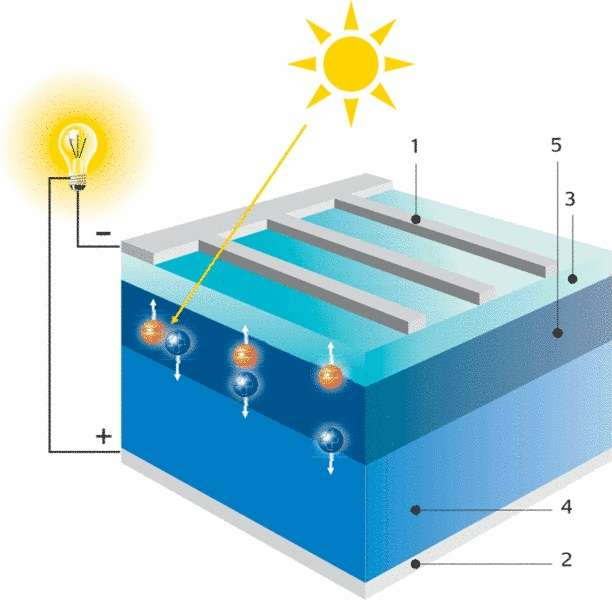 Principe de fonctionnement d'une cellule photovoltaïque. 1. Électrode négative 2. Électrode positive 3. Silicium n 4. Silicium p 5. Couche limite. © Renewables
