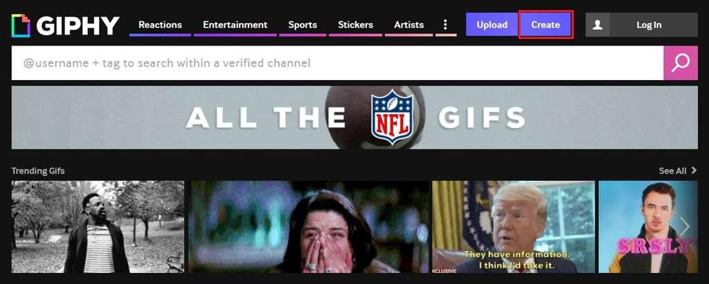 Fouillez dans les milliers de GIF ou créez le vôtre en cliquant sur « Create ». © Giphy.com