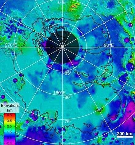 Limites inférieures des couches glaciales couvrant la région polaire sud de Mars