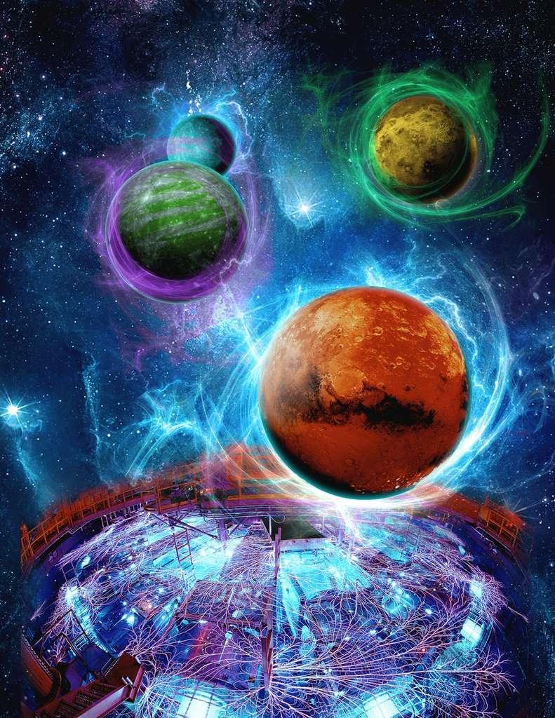 Le destin des atmosphères des superterres est en partie déterminé par l'existence d'un champ magnétique protecteur généré par une dynamo interne. Ce photomontage avec des vues d'artiste et une photo de la Z-machine en fonctionnement illustre cette idée. © Eric Lundin, photo de la Z-Machine Randy Montoya
