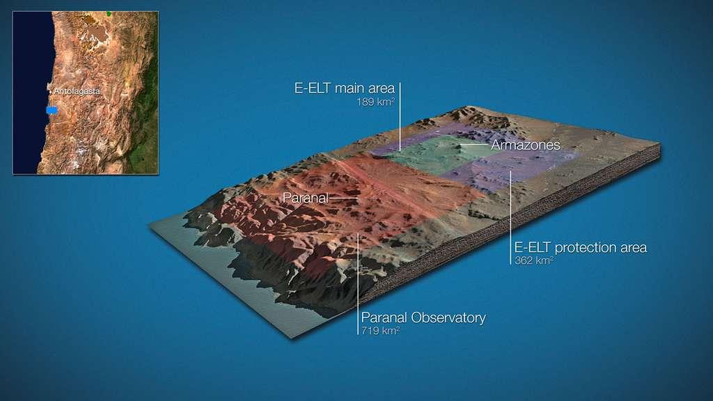 Le futur télescope géant E-ELT sera au centre d'une zone protégée de 550 kilomètres carrés. © ESO