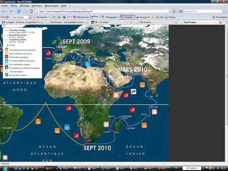 Après son départ de Lorient, le Tara prendra la direction de Gibraltar et restera un long moment en Méditerranée, accostant dans plusieurs pays, dont la France à Villefranche-sur-mer et la Grèce, où l'équipage s'offrira la traversée du canal de Corinthe. Après le canal de Suez et la Mer Rouge, le Tara gagnera l'océan Indien, s'intéressera à Madagascar et doublera le Cap de Bonne Espérance. (Cliquer sur l'image pour l'agrandir.) © Tara Oceans