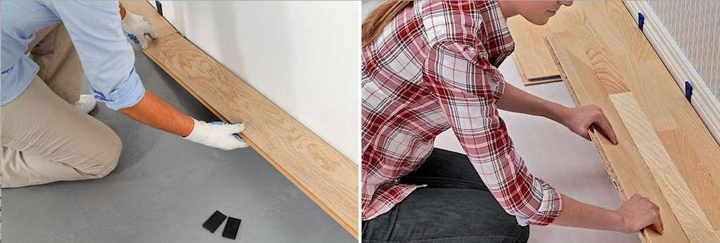 La pose la plus économique est dite à coupe perdue. Elle permet d'utiliser des lames de différentes longueurs. On peut alterner les joints de façon aléatoire et, ainsi, rentabiliser un maximum de chutes. © DIY Family (photo de gauche), Tarkett (photo de droite)