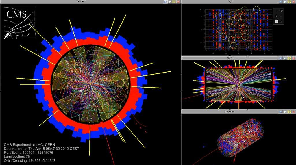 Des collisions de protons à 8 TeV le 5 avril 2012, vues par le détecteur CMS. © Cern