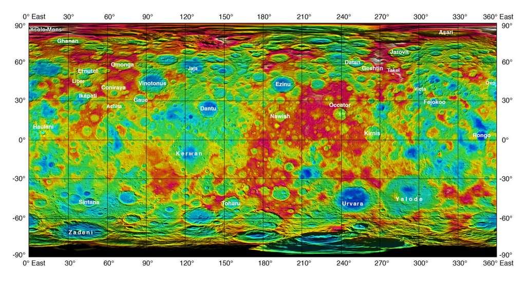 Nouvelle carte topographique de Cérès avec les noms, récemment ajoutés, de plusieurs cratères et d'une montagne. En rouge et orange, les reliefs les plus élevés; en bleu et vert, les moins élevés. © Nasa, JPL-Caltech, UCLA, MPS, DLR, IDA