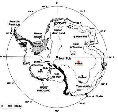 Situation du lac Vostok. Crédit : Institut de recherche russe arctique et antarctique.