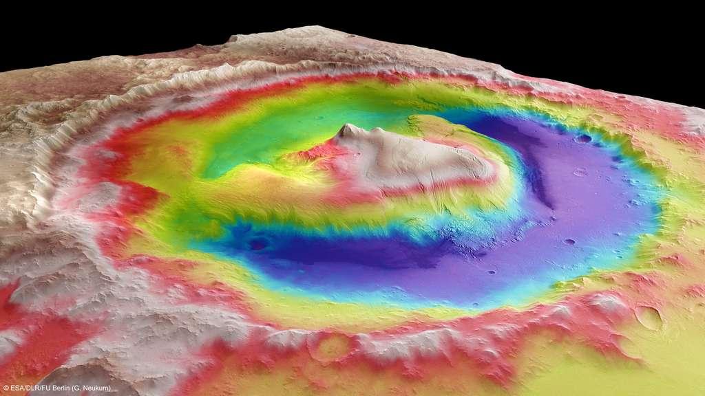 Le cratère Gale observé par la sonde européenne Mars Express avec une résolution de 100 m par pixel. © Esa, DLR, FU Berlin