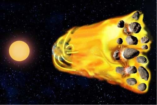 Le gaz est relâché dans un disque de planétésimaux plus lointain que la planète et migre vers l'intérieur jusqu'à se faire capturer par la planète, ce qui crée une nouvelle atmosphère sur cette dernière, qui peut avoir une masse similaire à l'atmosphère terrestre ou même devenir bien plus massive que l'atmosphère vénusienne. © Sylvain Cnudde, Observatoire de Paris - PSL