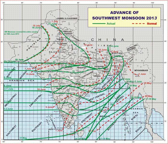 La mousson d'été est arrivée dans le sud de l'Inde par le sud le 1er juin, et s'est répandue vers le nord beaucoup plus rapidement que d'habitude, atteignant le Pakistan avec un mois d'avance. Les contours verts pleins indiquent la progression de la mousson d'été en 2013 (chaque contour est marqué avec une date). On peut comparer la progression rapide de cette année avec à une progression « normale », représentée par les pointillés rouges (également marqués avec des dates). © India Meteorological Department