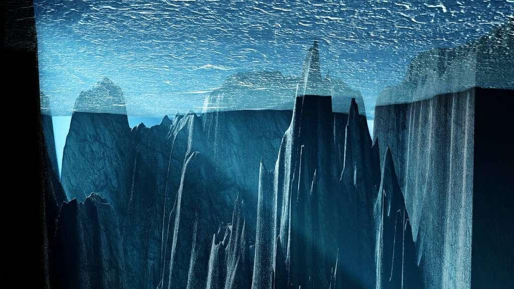 Une vue d'artiste de l'intérieur d'un océan glaciaire. © Martin Künsting
