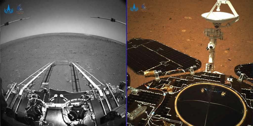 Les deux premiers clichés acquis par le rover chinois Zhurong depuis l'atterrisseur posé sur le sol martien. © CNSA