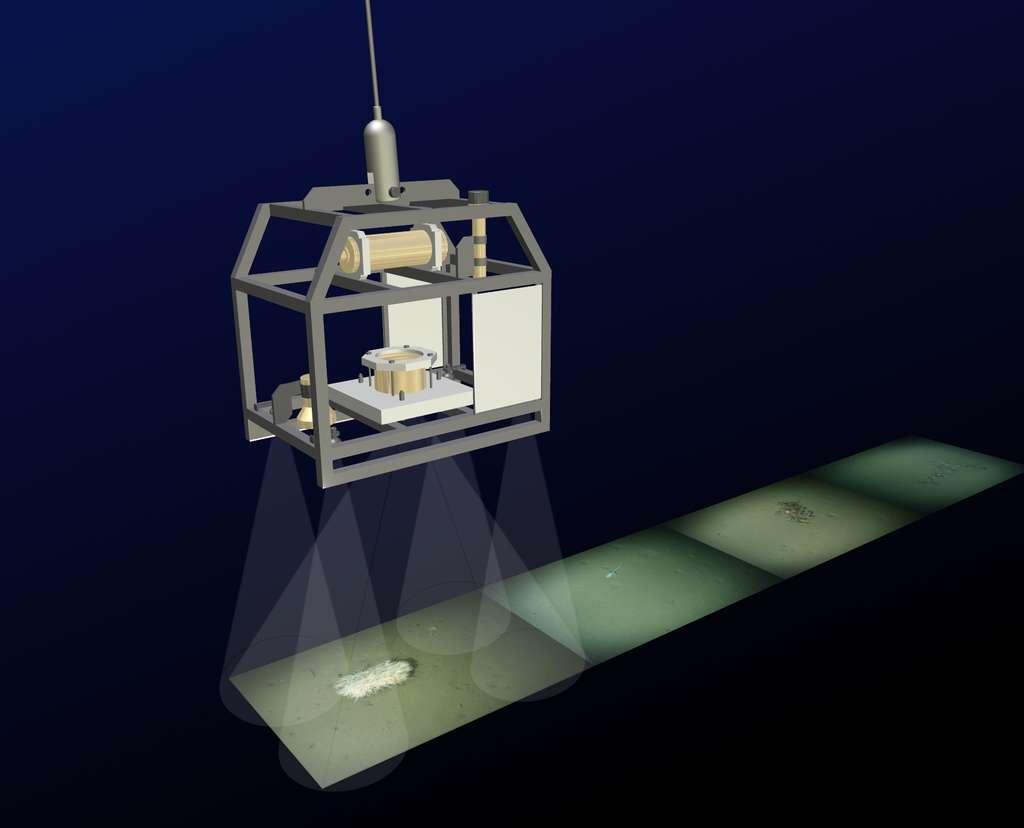 Présentation d'Ofos, le dispositif permettant de photographier les fonds marins à de grandes profondeurs. Il a été développé par des chercheurs du Alfred Wegener Institute for Polar and Marine Research et peut descendre à plus de 5.000 m de profondeur. © AWI
