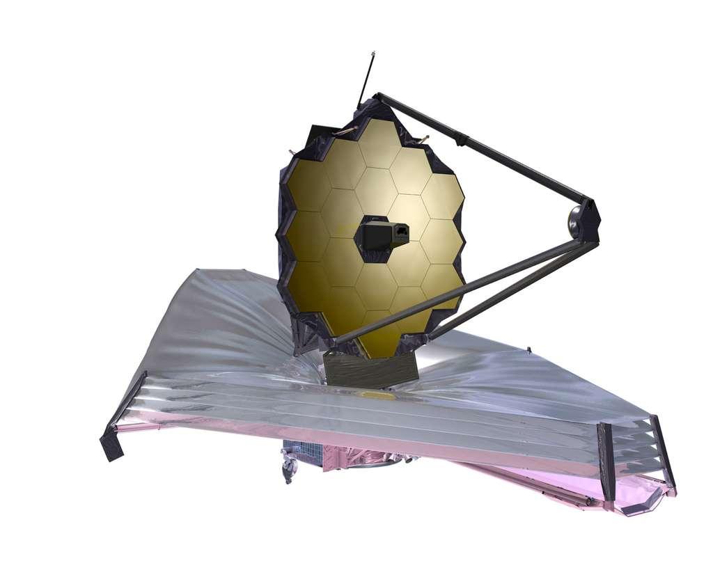 L'observatoire James Webb comprend deux zones. Une partie chaude exposée au rayonnement en provenance du Soleil, de la Terre et de la Lune (le télescope de 6,5 mètres de diamètre) ; et une froide où se trouvent les instruments scientifiques. © Nasa