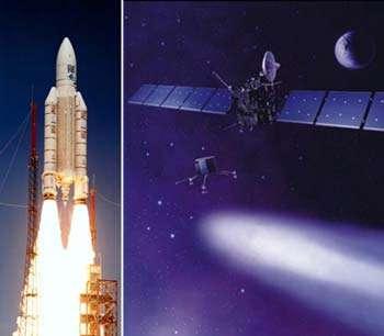 La mission Rosetta se compose d'un orbiter et d'un lander. Elle sera lancée en 2003, au moyen d'une fusée Ariane 5, en direction de la comète Wirtanen qu'elle devrait rejoindre en novembre 2011 avant d'y déposer, en août 2012, un petit lander. crédits : Ariane 5 (ESA/CNES/Arianespace) / Rosetta (Image d'artiste, ESA) / Montage : Futura-Sciences.com