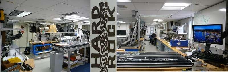 Voici le vaste « Core lab » à bord du JOIDES Resolution. © Jean-Luc Berenguer