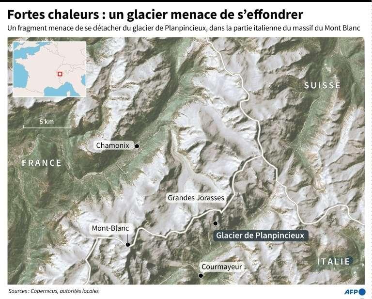 Situé sur la face sud des Grandes Jorasses du massif du Mont-Blanc, en Italie, une partie du glacier de Planpincieux est sur le point de s'effondrer. © Simon Malfatto, AFP