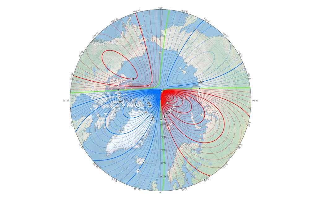 Carte indiquant la nouvelle position du pôle Nord magnétique (petite étoile blanche) et la déclinaison en ce début d'année 2019. © NOAA NCEI/CIRES.