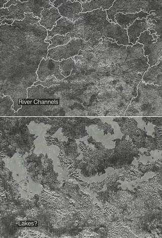 On peut voir, dans la région de Xanadu, un réseau de rivières (en haut) qui débouchent peut-être sur des lacs de méthane ou d'éthane (en bas) (Crédits : NASA/JPL)