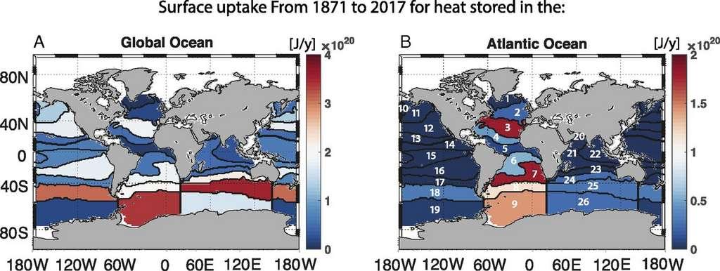 Quantité de chaleur absorbée par l'ensemble des océans (à gauche) et par l'océan Atlantique (à droite) entre 1871 et 2017 en Joules/an. © Laure Zanna et al., Pnas, 2019