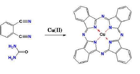 Formule de la phtalocyanine. Cette image de la synthèse « simple » d'une molécule « compliquée », la phtalocyanine, illustre bien la démarche actuelle qui utilise la chimie organique un peu comme un mécano ! © DR