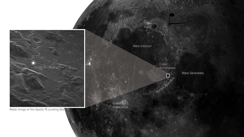Grâce à un signal radar envoyé vers la Lune et au Very Long Baseline Array (VLBA), les chercheurs ont obtenu une image étonnante de la surface de notre satellite. © Sophia Dagnello, NRAO/GBO/Raytheon/AUI/NSF/USGS