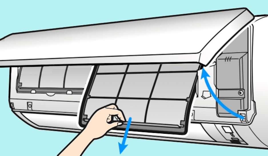 Ouvrez le capot frontal en agissant sur les clips ou languettes prévus à cet effet. Les filtres écrans apparaissent alors : ils s'enlèvent facilement, sans outil. © M.B. d'après doc Daikin