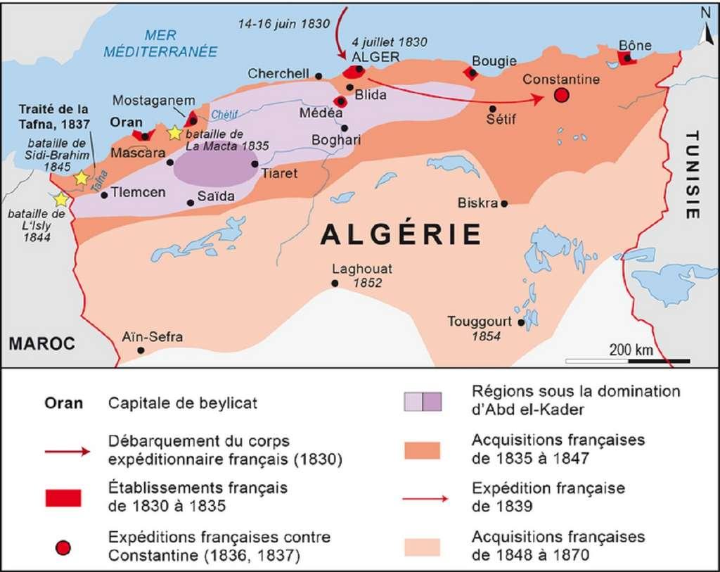 Carte de la conquête de l'Algérie entre 1830 et 1870. © Blogisek-histoire.