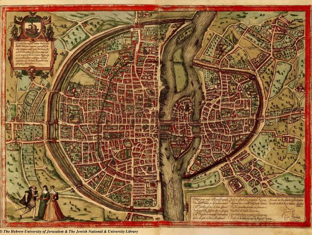 Plan de Paris publié en 1572 par Braun et Hogenberg (visualisation de l'enceinte de Charles V). Université hébraïque de Jérusalem.© The Hebrew University of Jerusalem & The Jewish National & University Library