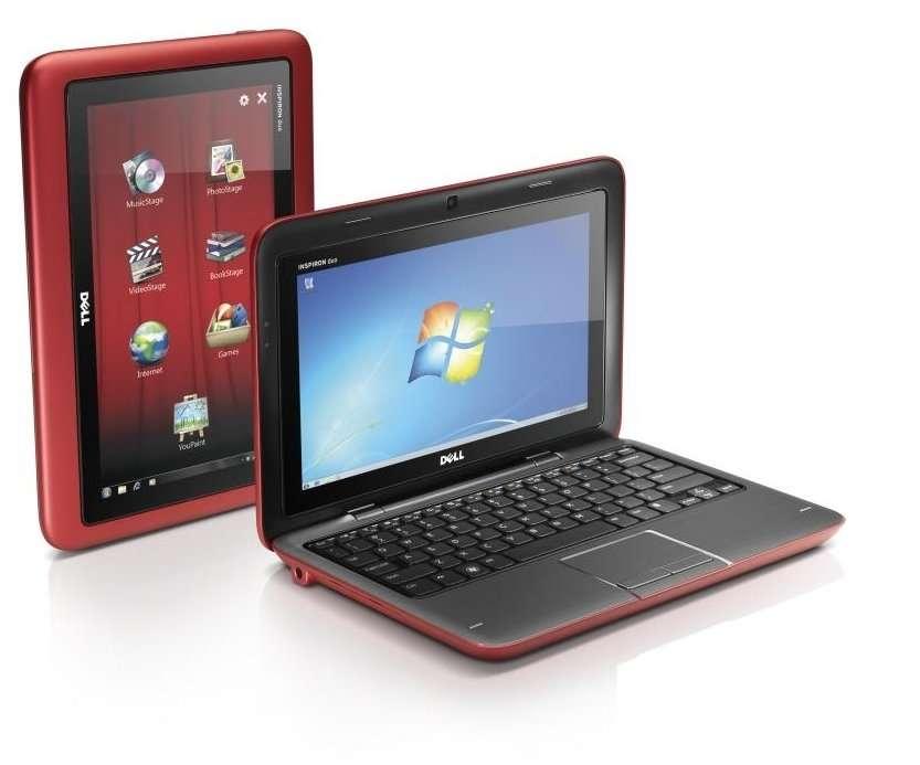 Ouvert, le Duo est un portable tout à fait classique, avec un écran plutôt petit (10 pouces de diagonale) et un poids conséquent : 1,5 kilogrammes. Une fois l'écran pivoté (selon un axe horizontal, à l'intérieur de son cadre), on obtient (à gauche sur la photo), une épaisse tablette tactile. © Dell