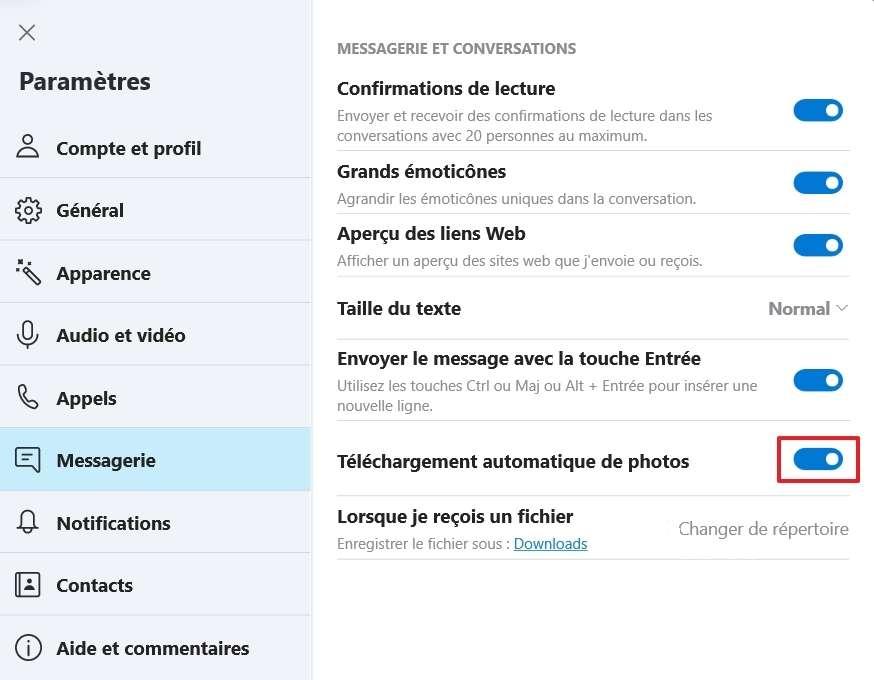 Déplacez le curseur vers la droite pour télécharger automatiquement les photos. © Microsoft