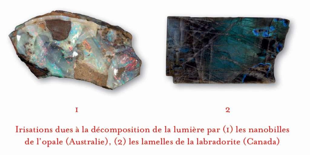 Certains minéraux diffractent la lumière grâce à des particularités internes (nanobilles de l'opale à gauche, lamelles de labradorite à droite). © Dunod, DR