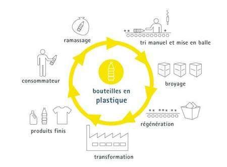 Cycle du recyclage du plastique (PET et PEHD). © Somergie