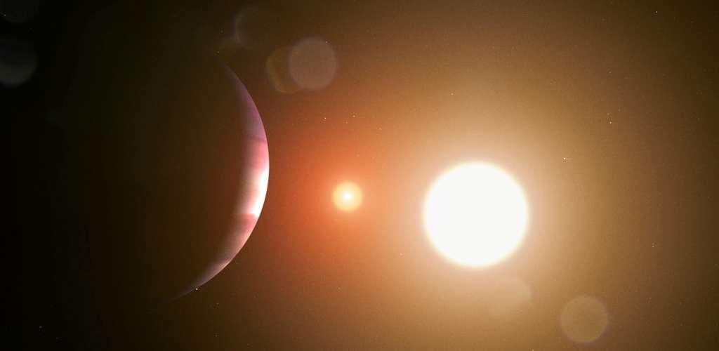 Une vue d'artiste de Kepler 16b éclipsant Kepler 16A et Kepler 16B qui s'éclipsent elles-mêmes. © Nasa, JPL-Caltech, R. Hurt
